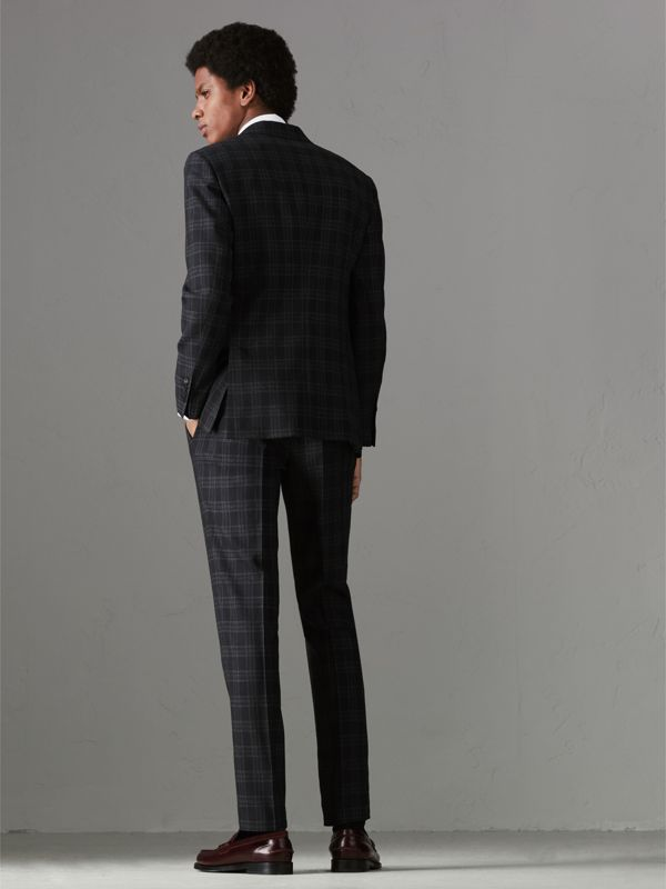 Soho Fit Check Wool Suit in Black - Men | Burberry United Kingdom - cell image 2