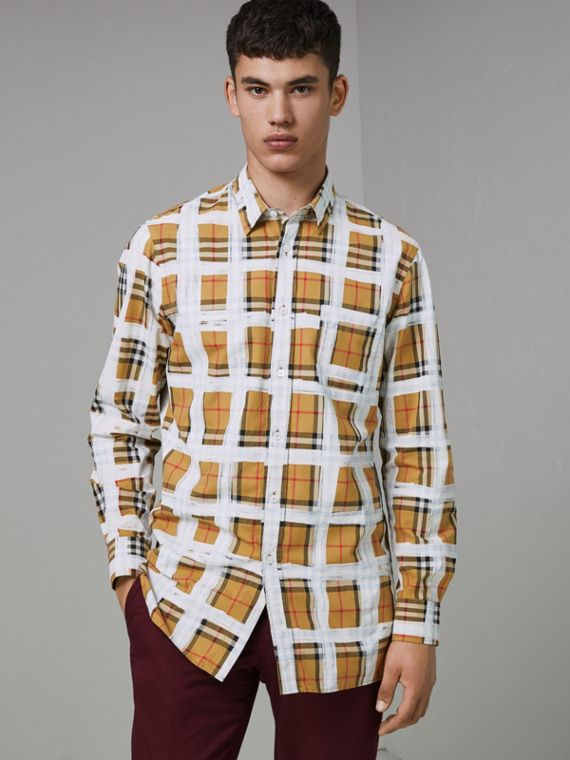 Painted Vintage Check Cotton Shirt in Antique Yellow