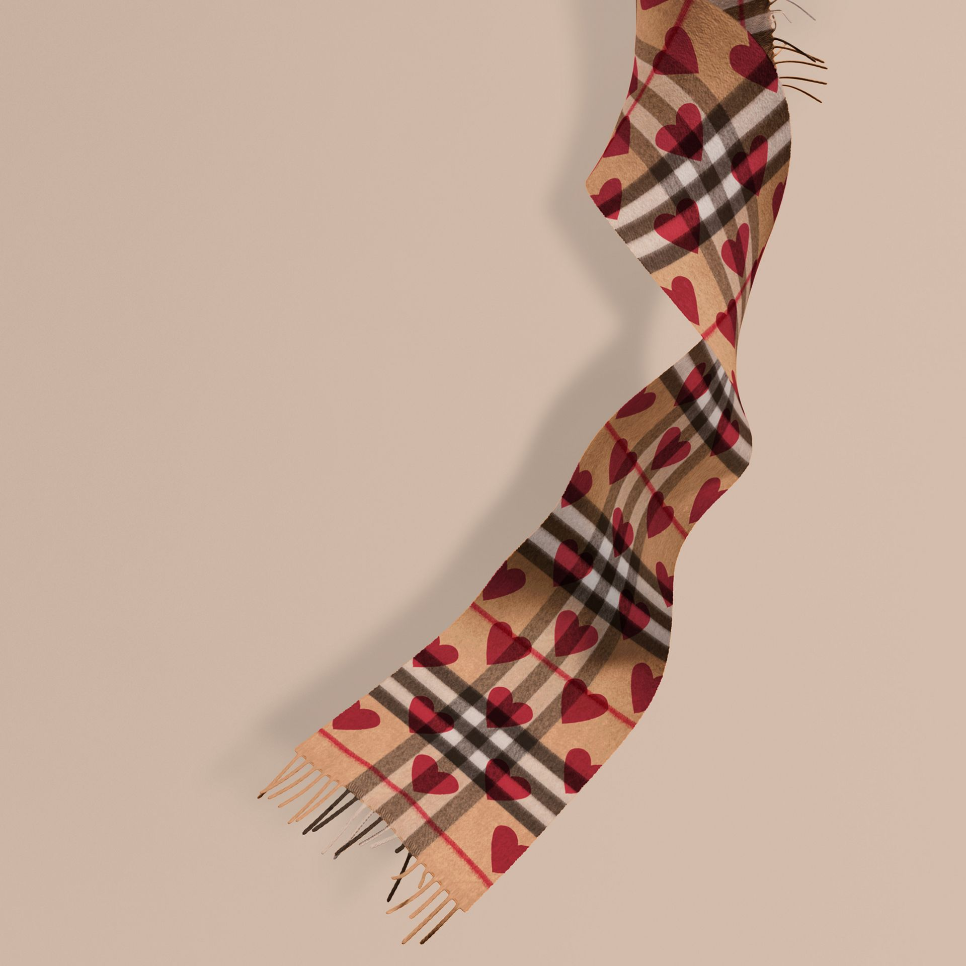 The Mini Classic Cashmere Scarf in Check and Hearts in Parade Red | Burberry - gallery image 1