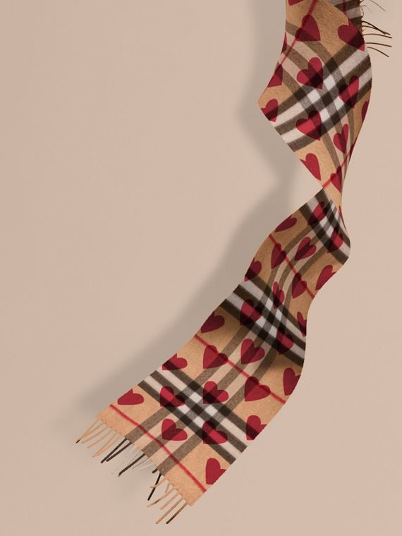 The Mini Classic Cashmere Scarf in Check and Hearts in Parade Red | Burberry