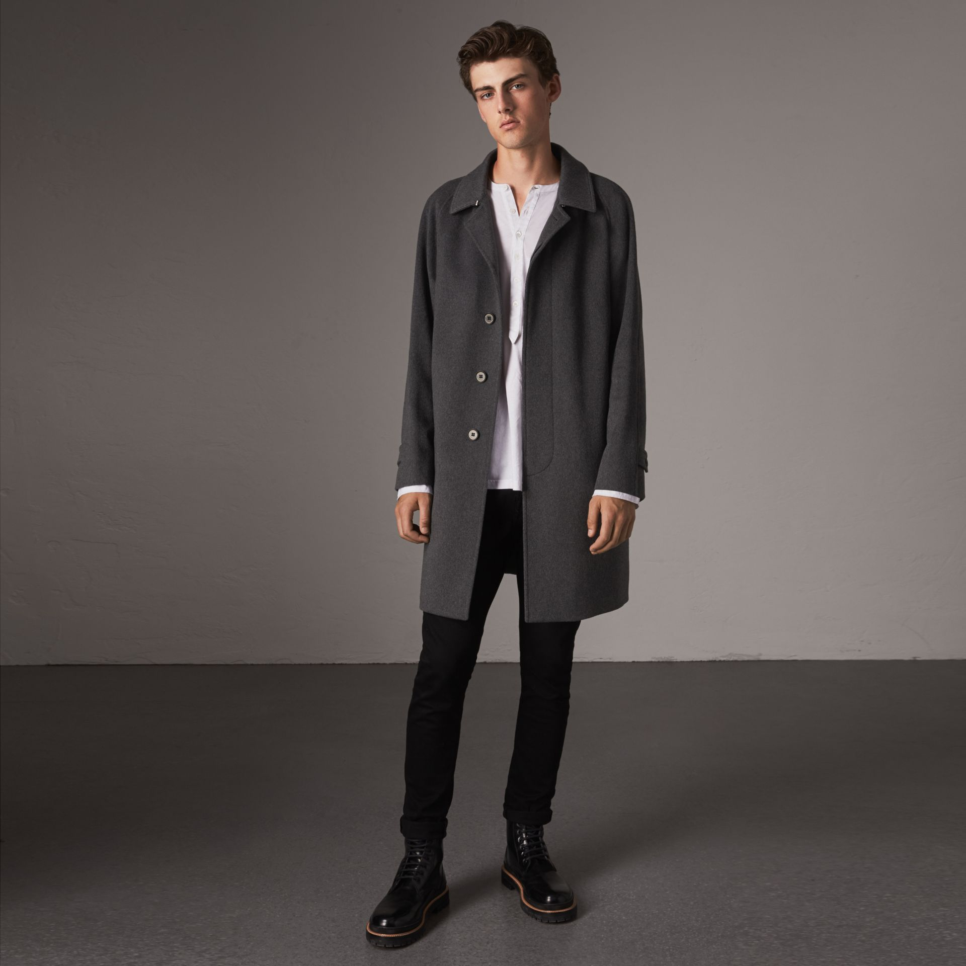 Cashmere Car Coat in Pewter Melange - Men | Burberry Australia - gallery image 0