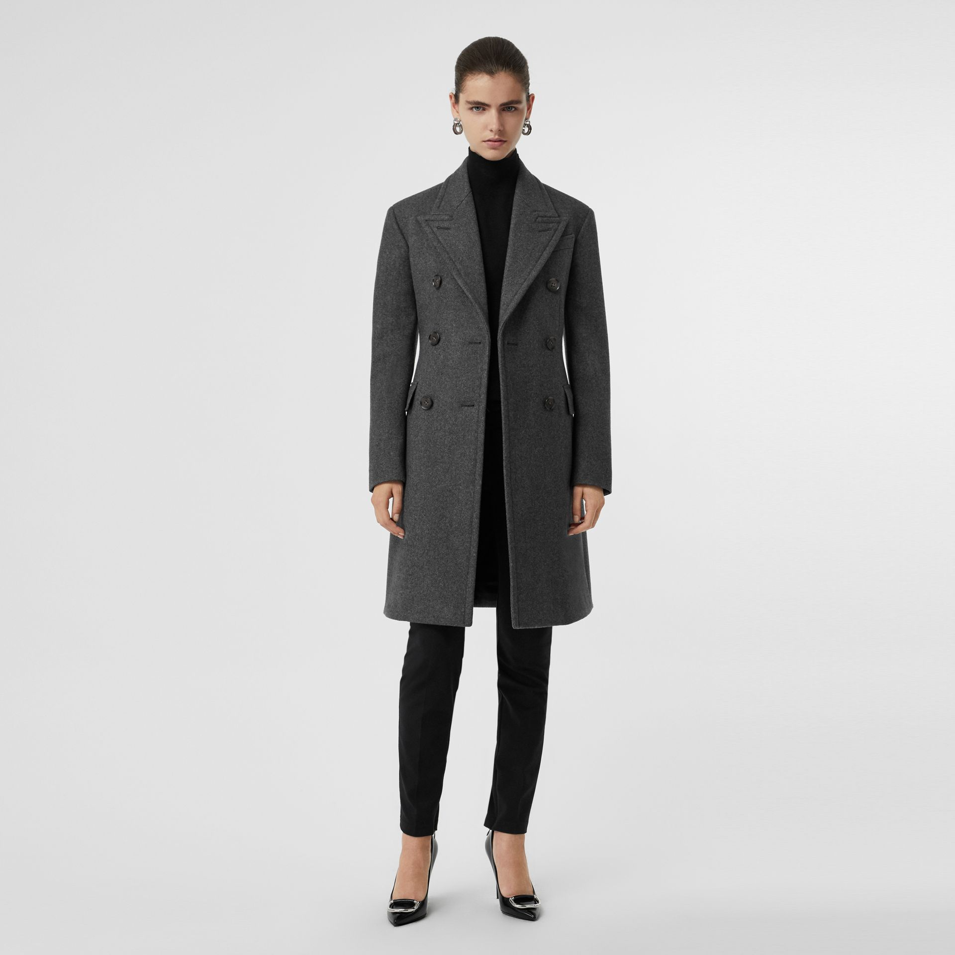 Double-breasted Wool Tailored Coat in Mid Grey Melange - Women | Burberry Singapore - gallery image 5