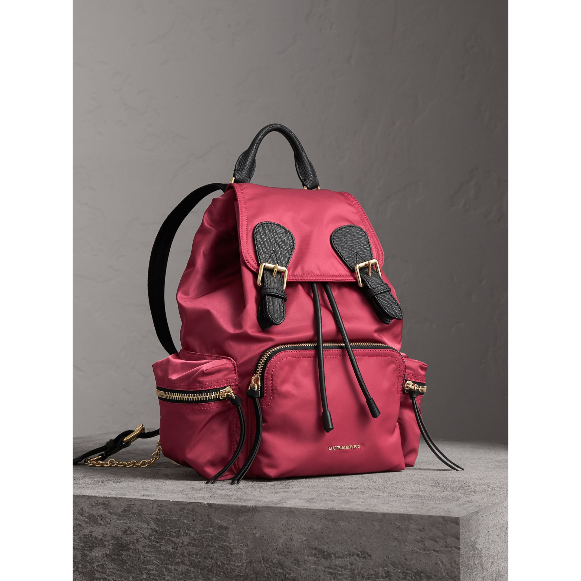 The Medium Rucksack in Technical Nylon and Leather in Plum Pink - Women | Burberry - gallery image 0