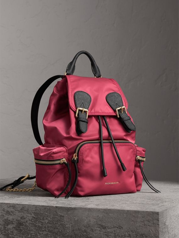 The Medium Rucksack in Technical Nylon and Leather in Plum Pink