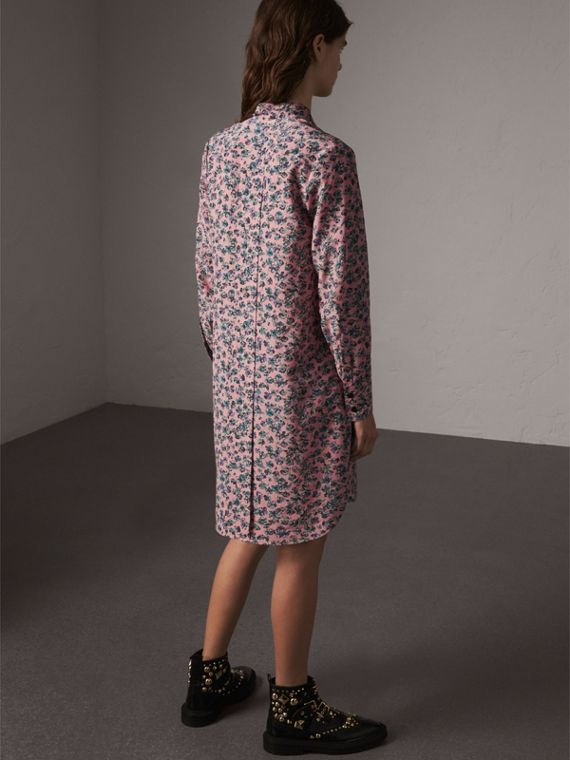 Pleated Bib Floral Tie Neck Silk Dress in Pale Rose - Women | Burberry - cell image 2