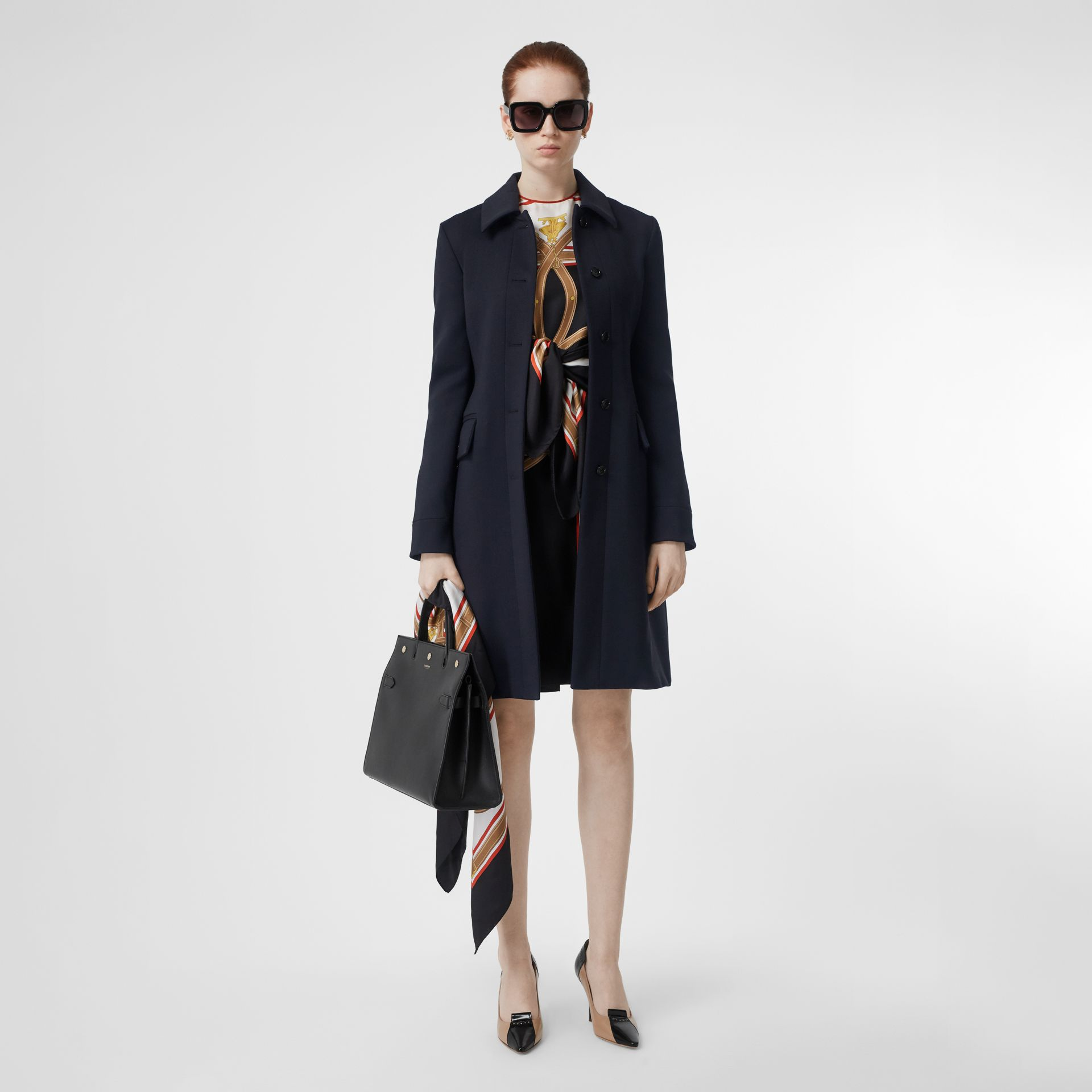 Double-faced Wool Cashmere Blend Coat in Navy - Women | Burberry Singapore - gallery image 0