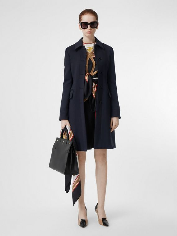 Double-faced Wool Cashmere Blend Coat in Navy