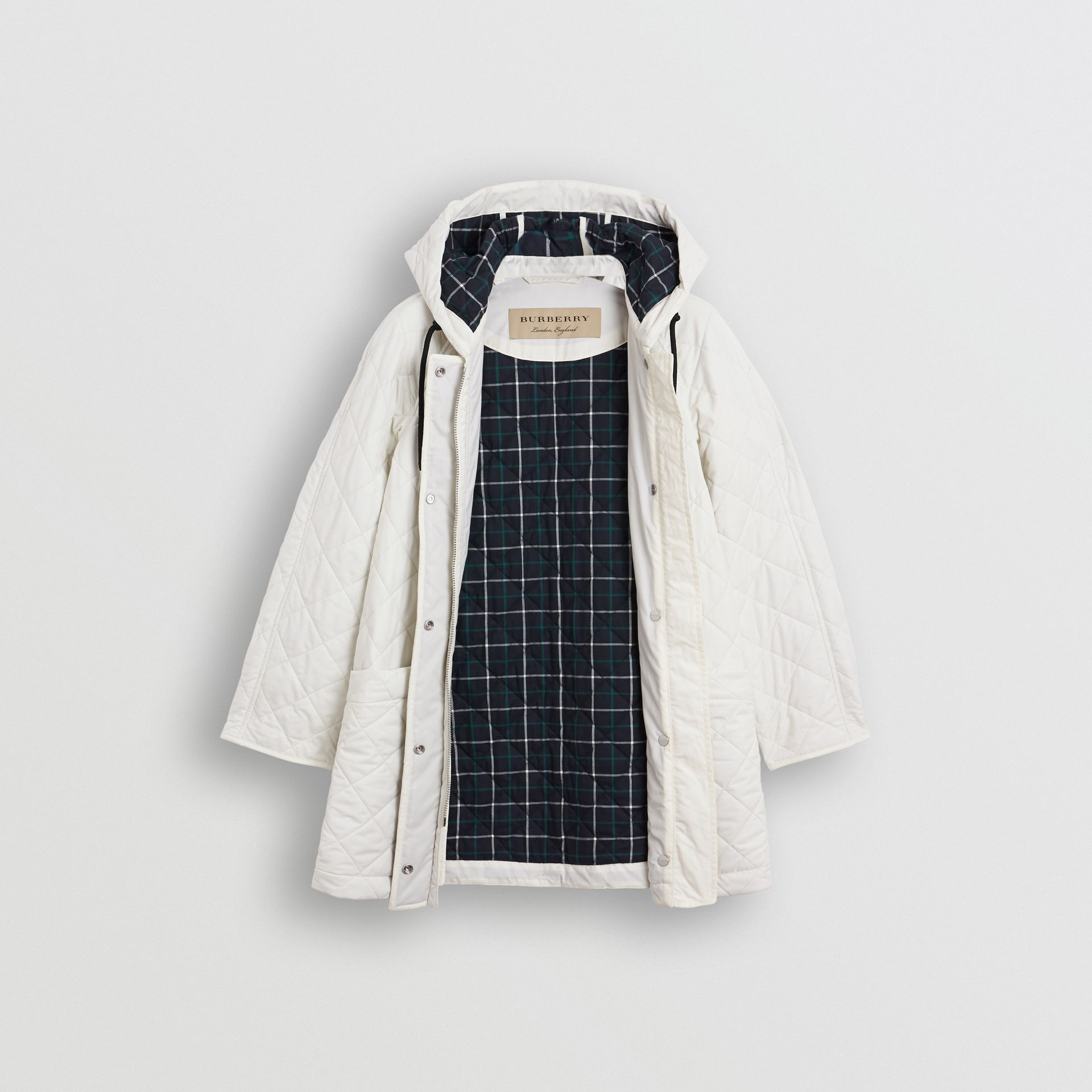 Diamond Quilted Oversized Hooded Parka in Ash White - Women | Burberry Australia - gallery image 5