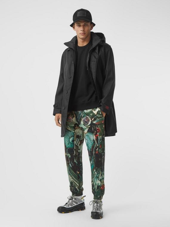 Cappotto car coat in nylon con imbottitura staccabile con cappuccio (Nero)