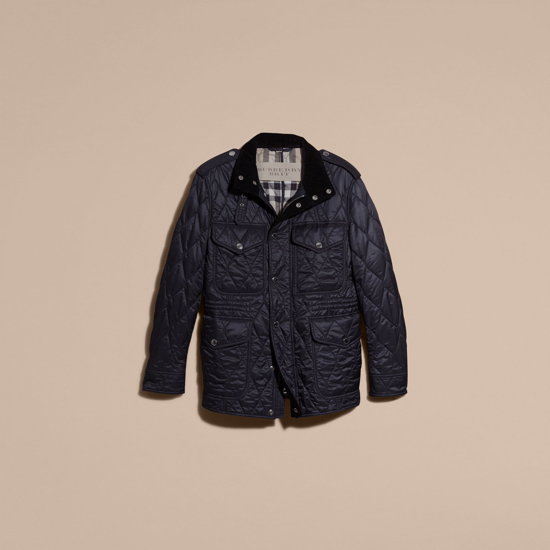 Navy Diamond Quilted Field Jacket Navy - gallery image 4