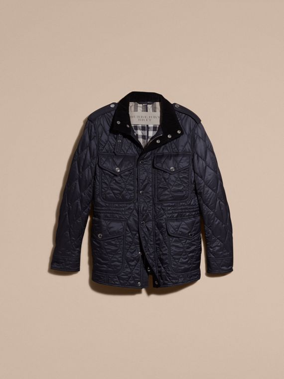 Navy Diamond Quilted Field Jacket Navy - cell image 3