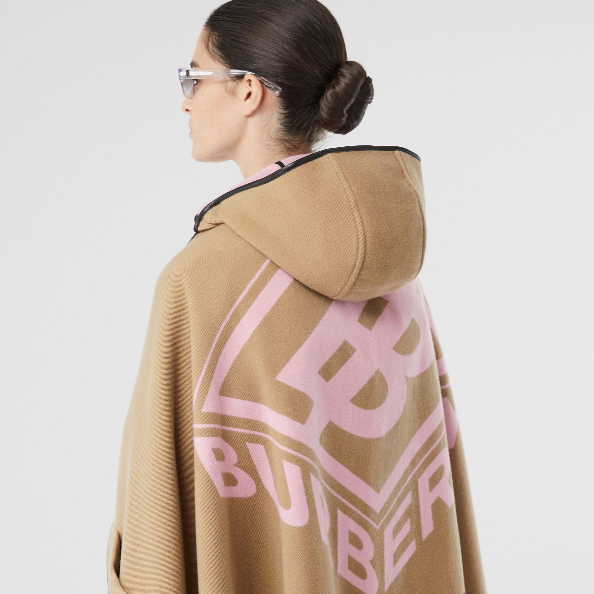 Logo Graphic Wool Cotton Jacquard Hooded Cape in Archive Beige | Burberry - gallery image 9