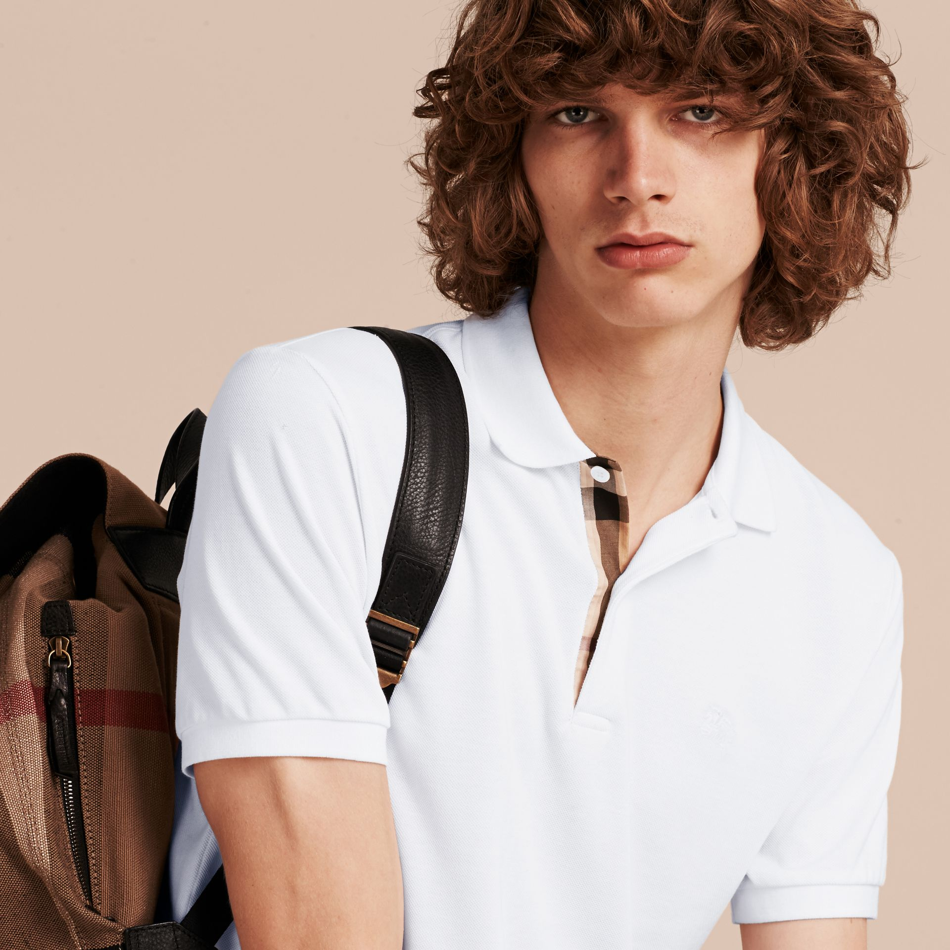 Check Placket Cotton Piqué Polo Shirt in White - gallery image 6