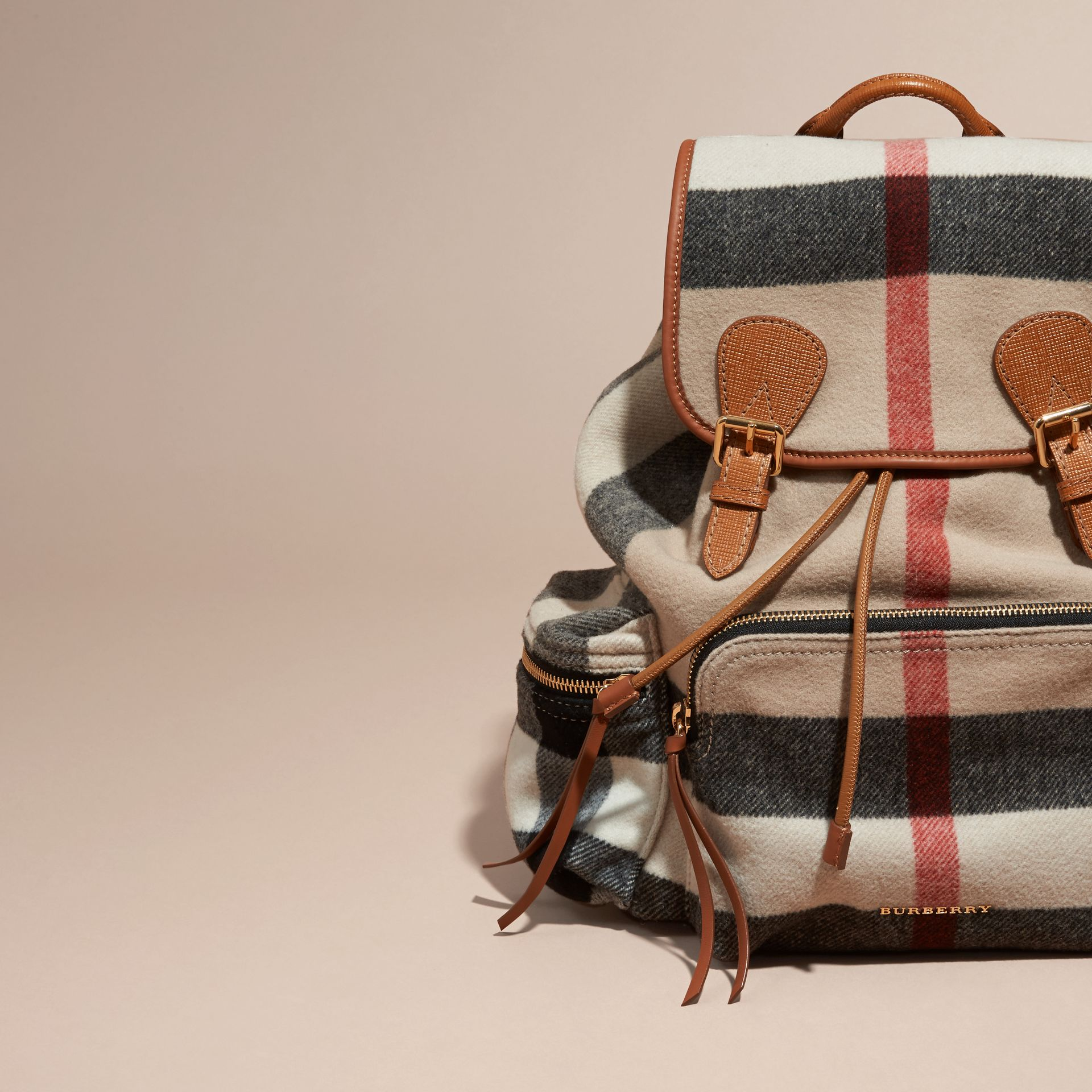 Check/grey The Large Rucksack in Check Wool Blend and Leather - gallery image 6