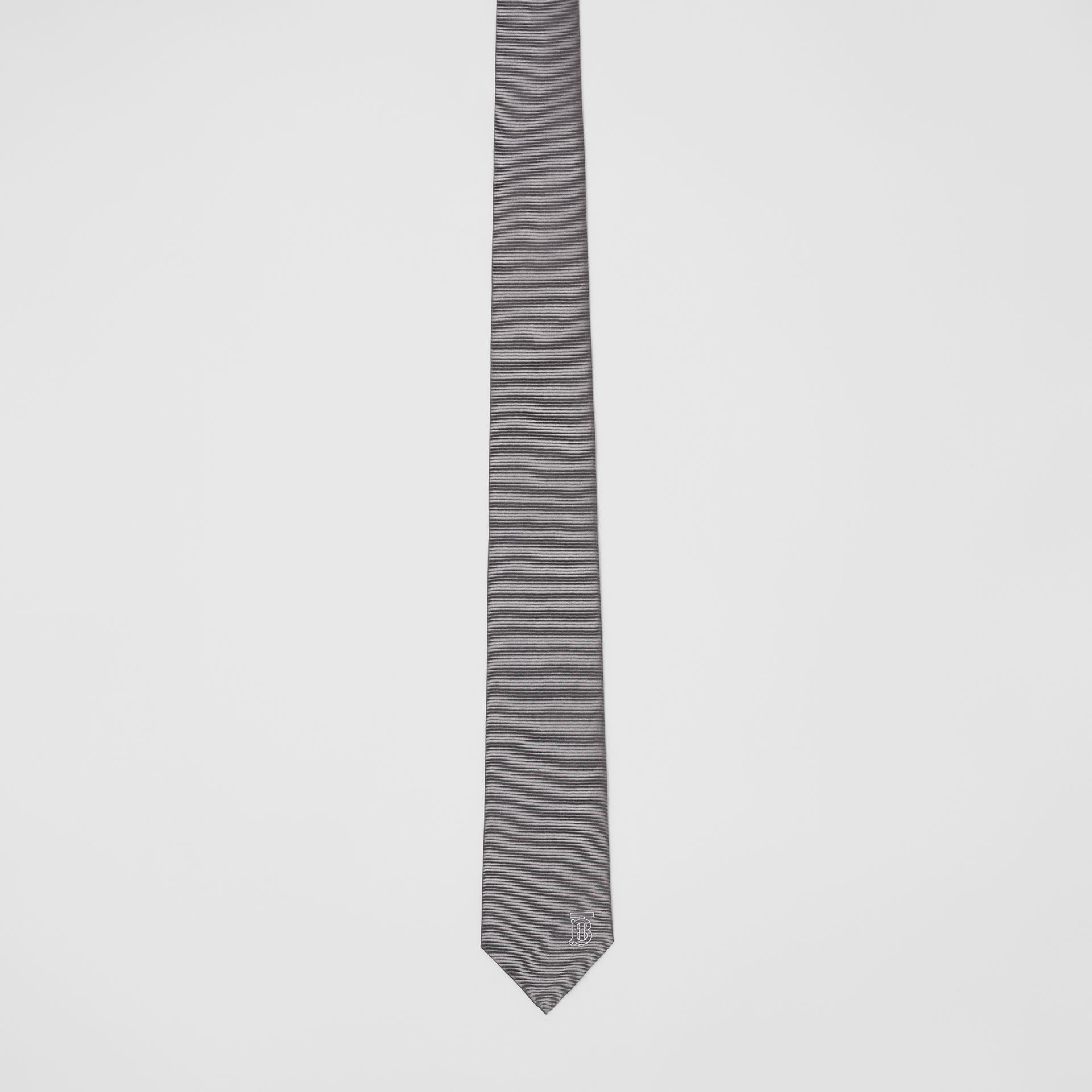 Classic Cut Monogram Motif Silk Tie in Mid Grey - Men | Burberry United Kingdom - gallery image 2