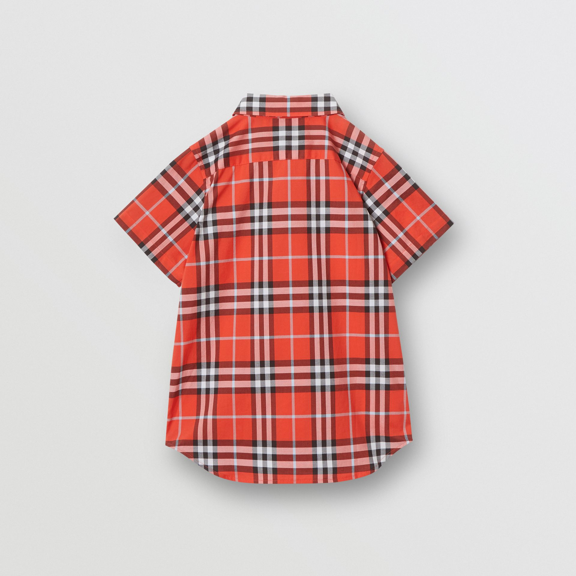Short-sleeve Check Cotton Shirt in Orange Red | Burberry - gallery image 3