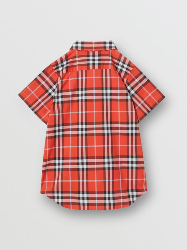 Short-sleeve Check Cotton Shirt in Orange Red | Burberry - cell image 3