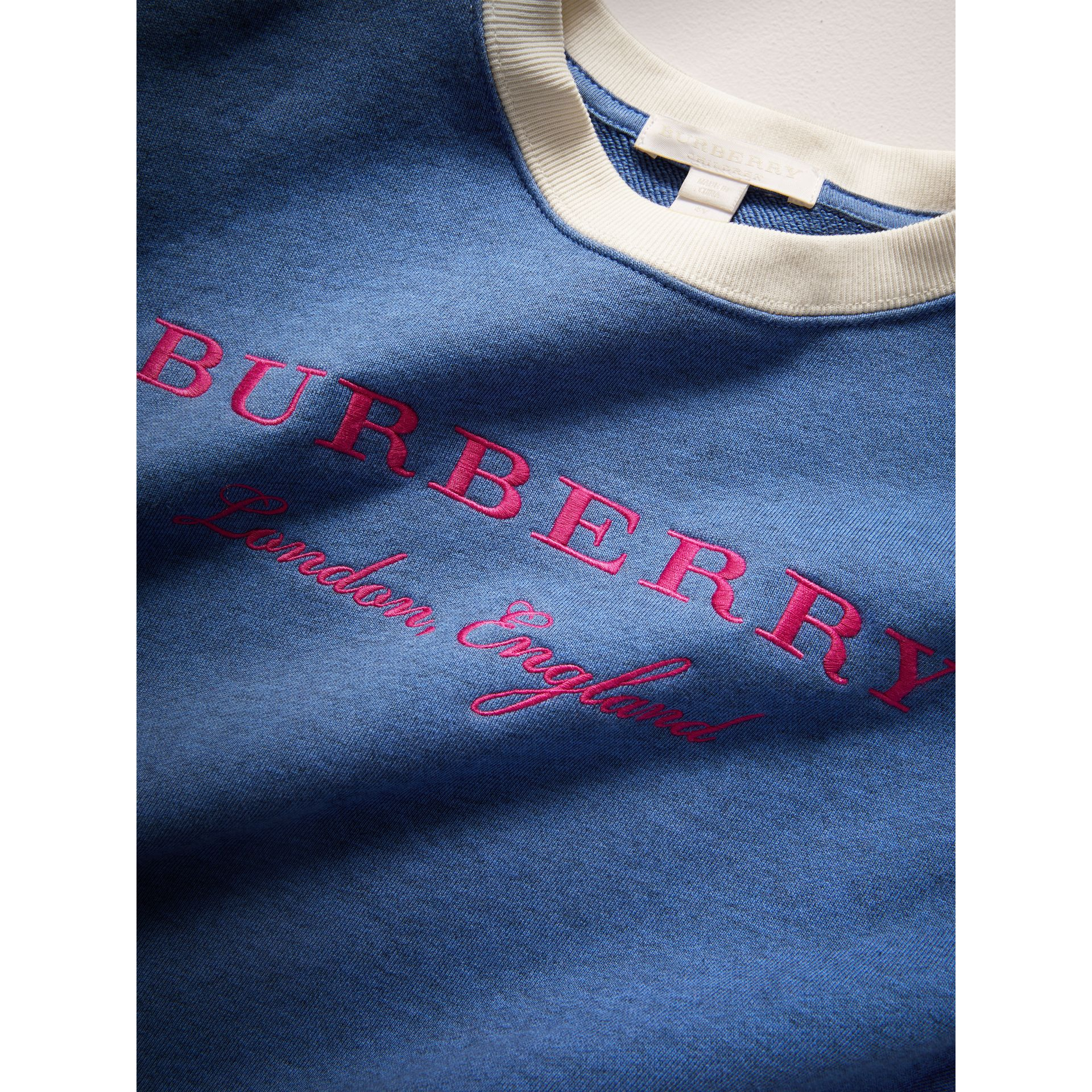 Striped Hem Embroidered Cotton Jersey Sweatshirt in Hydrangea Blue - Girl | Burberry United States - gallery image 1