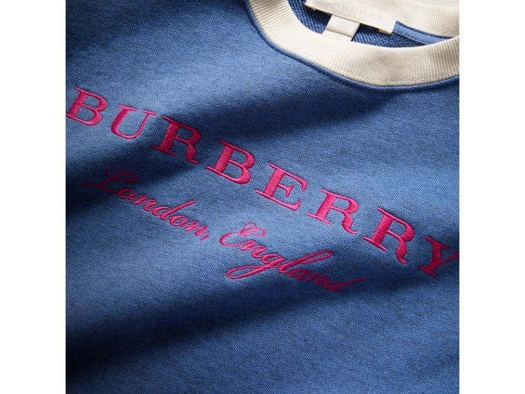 Striped Hem Embroidered Cotton Jersey Sweatshirt in Hydrangea Blue - Girl | Burberry - cell image 1