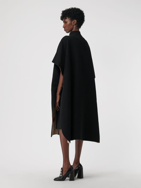 Reversible Check Oversized Poncho in Black - Women | Burberry - cell image 2