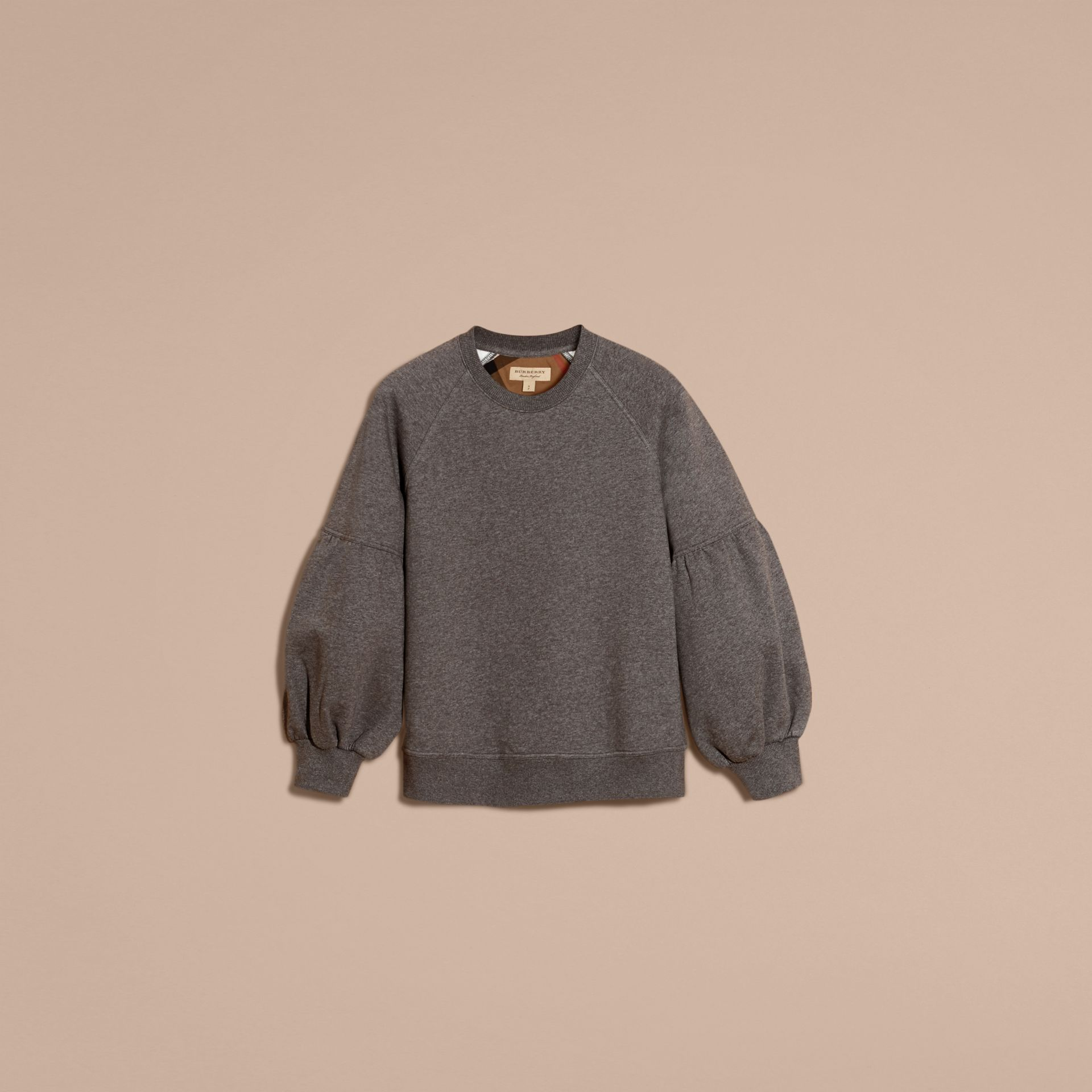 Brushed-back Jersey Sweatshirt with Bell Sleeves Mid Grey Melange - gallery image 4