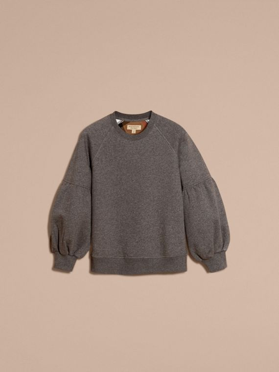 Brushed-back Jersey Sweatshirt with Bell Sleeves Mid Grey Melange - cell image 3