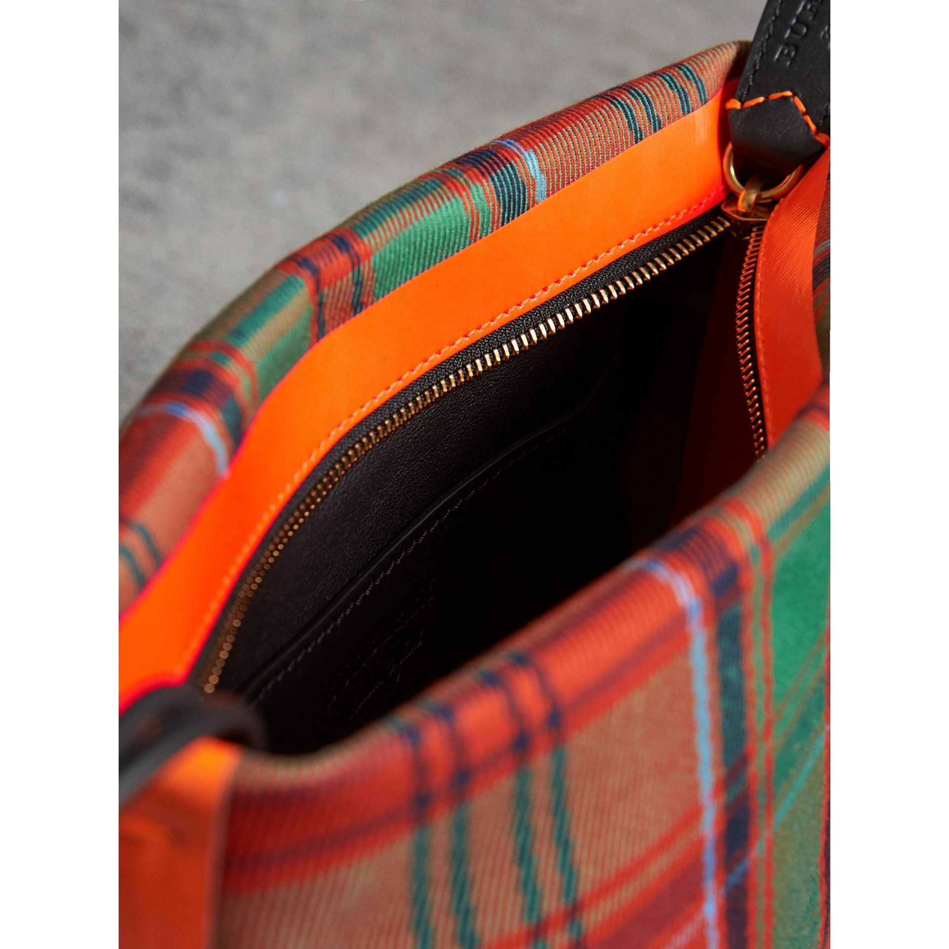 Tartan Cotton Clutch in Orange Red/vibrant Red | Burberry Canada - gallery image 5
