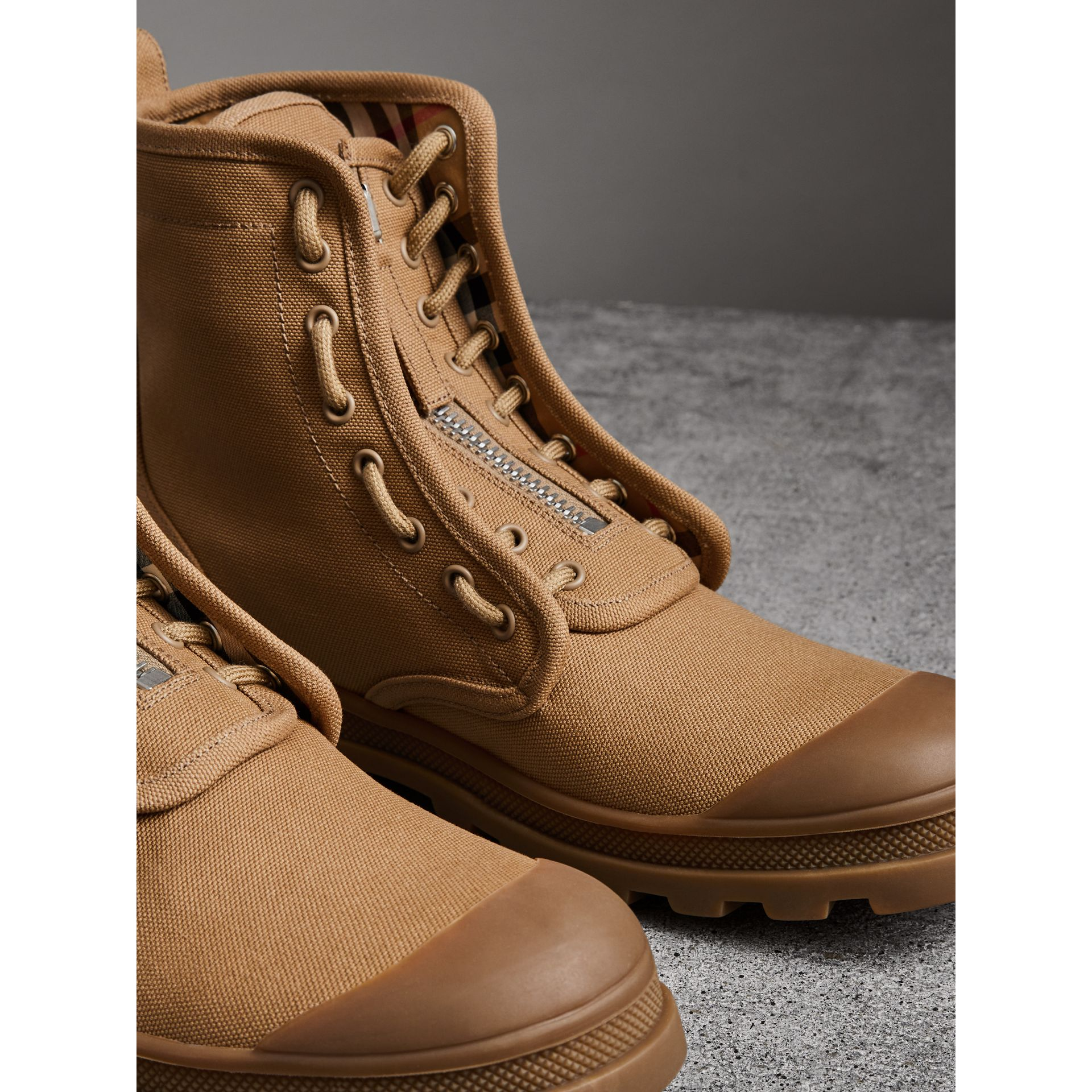 Zipped Cotton Canvas Boots in Mid Camel - Men | Burberry United States - gallery image 3