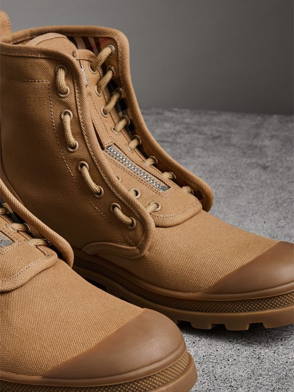 Zipped Cotton Canvas Boots in Mid Camel - Men | Burberry - cell image 3