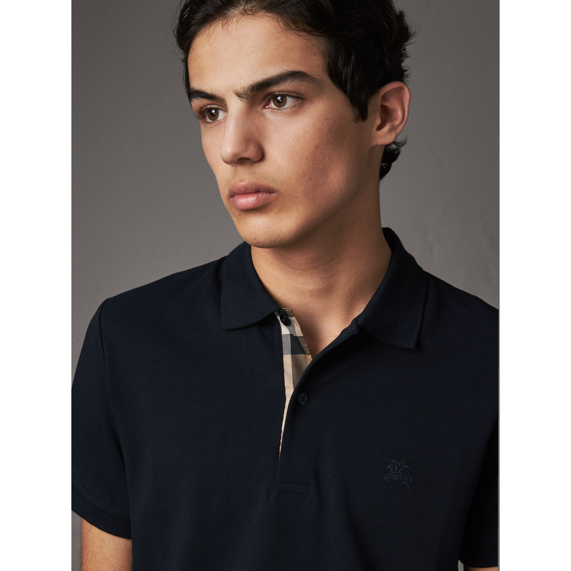 Check Placket Cotton Piqué Polo Shirt in Dark Navy - Men | Burberry United States - gallery image 1