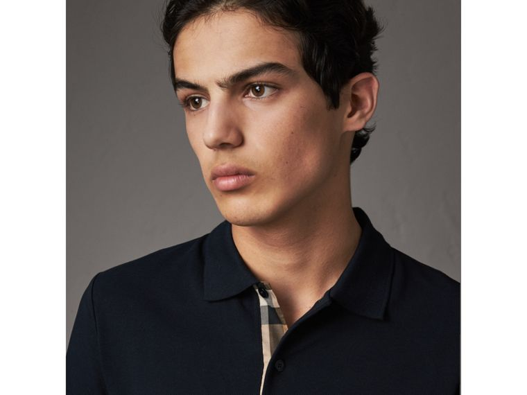 Check Placket Cotton Piqué Polo Shirt in Dark Navy - Men | Burberry - cell image 1