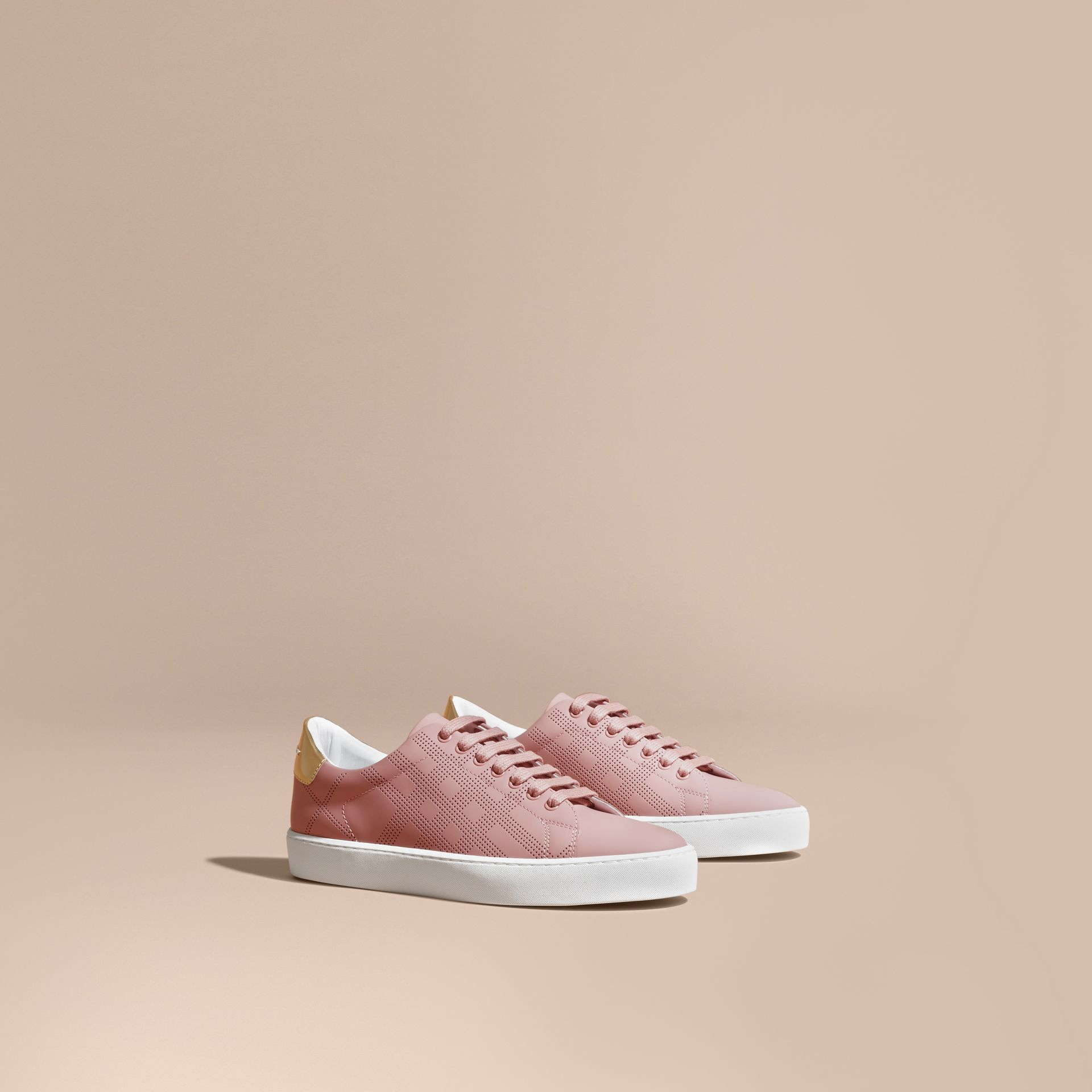 Perforated Check Leather Trainers Rose Pink - gallery image 1