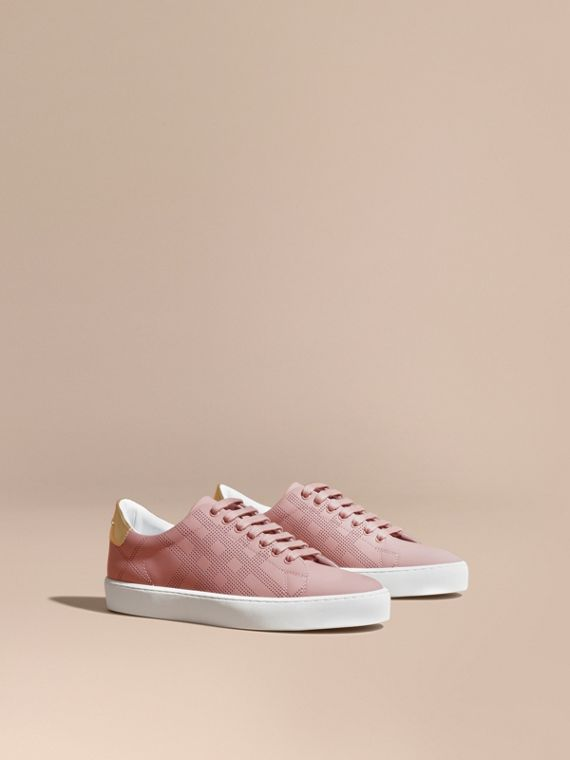 Perforated Check Leather Trainers Rose Pink