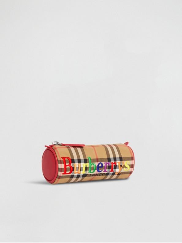 刺繡典藏徽標 Vintage 格紋鉛筆盒 (古典黃)