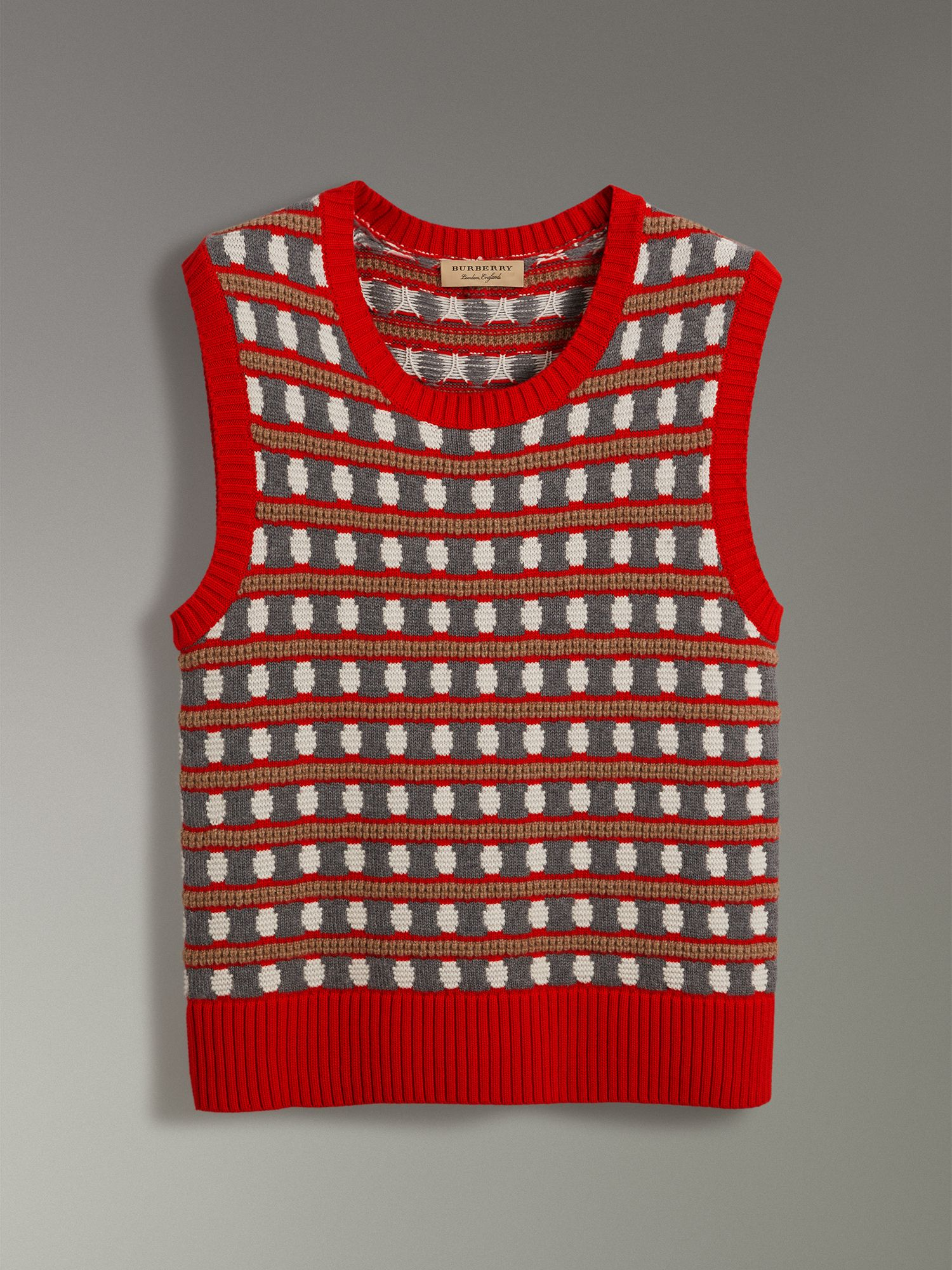 Geometric Cashmere Tank Top in Bright Red