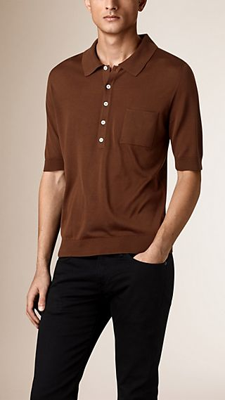 Fine Gauge Knitted Silk Polo Shirt