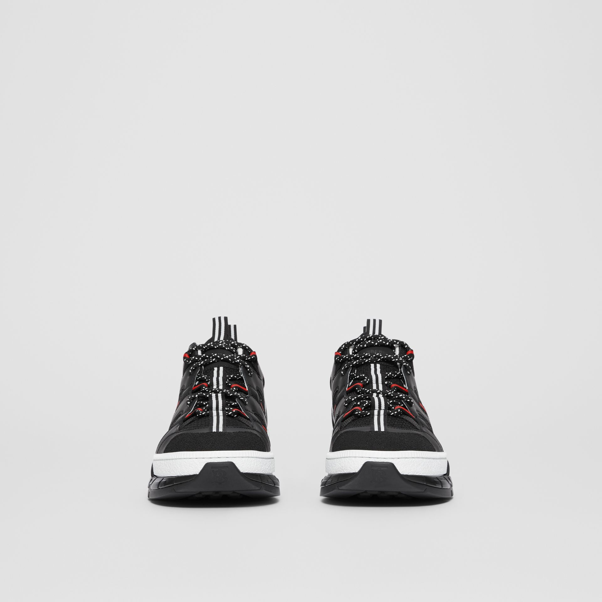 Mesh and Nubuck Union Sneakers in Black/red - Men | Burberry Hong Kong S.A.R - gallery image 3