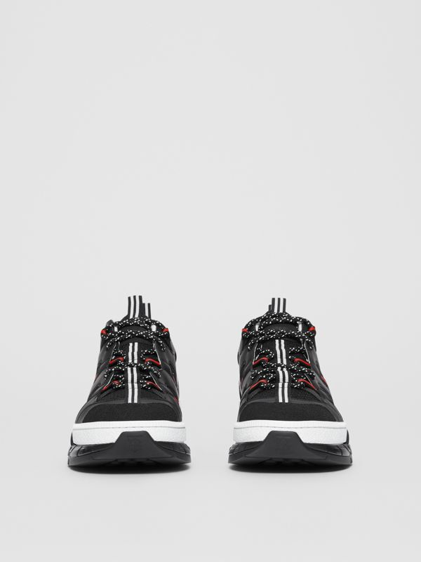 Mesh and Nubuck Union Sneakers in Black/red - Men | Burberry Hong Kong S.A.R - cell image 3
