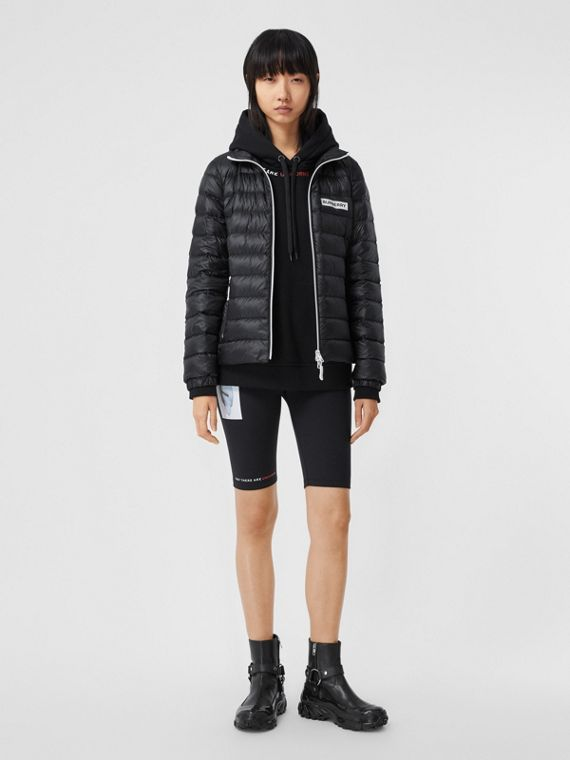 Logo Print Lightweight Puffer Jacket in Black