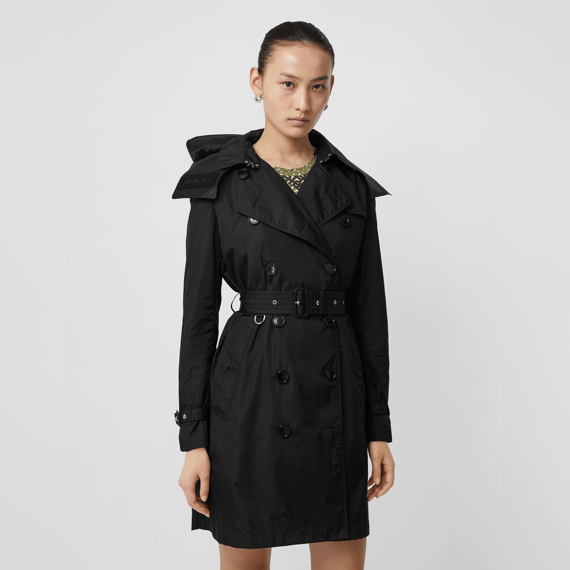 Detachable Hood ECONYL® Trench Coat in Black - Women | Burberry - gallery image 5
