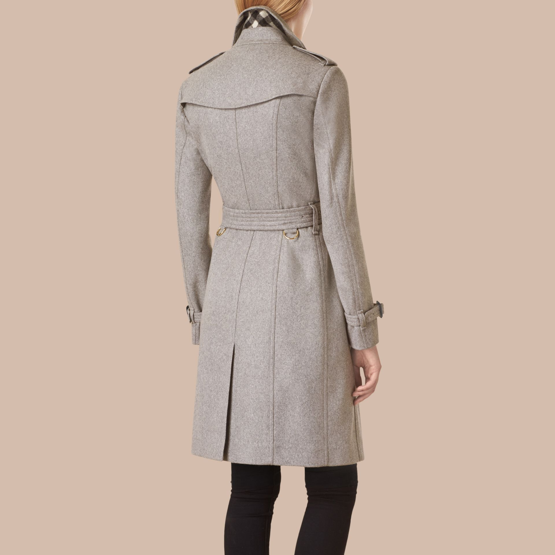 Sandringham Fit Cashmere Trench Coat in Pale Grey - gallery image 3