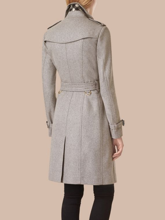 Sandringham Fit Cashmere Trench Coat in Pale Grey - cell image 2