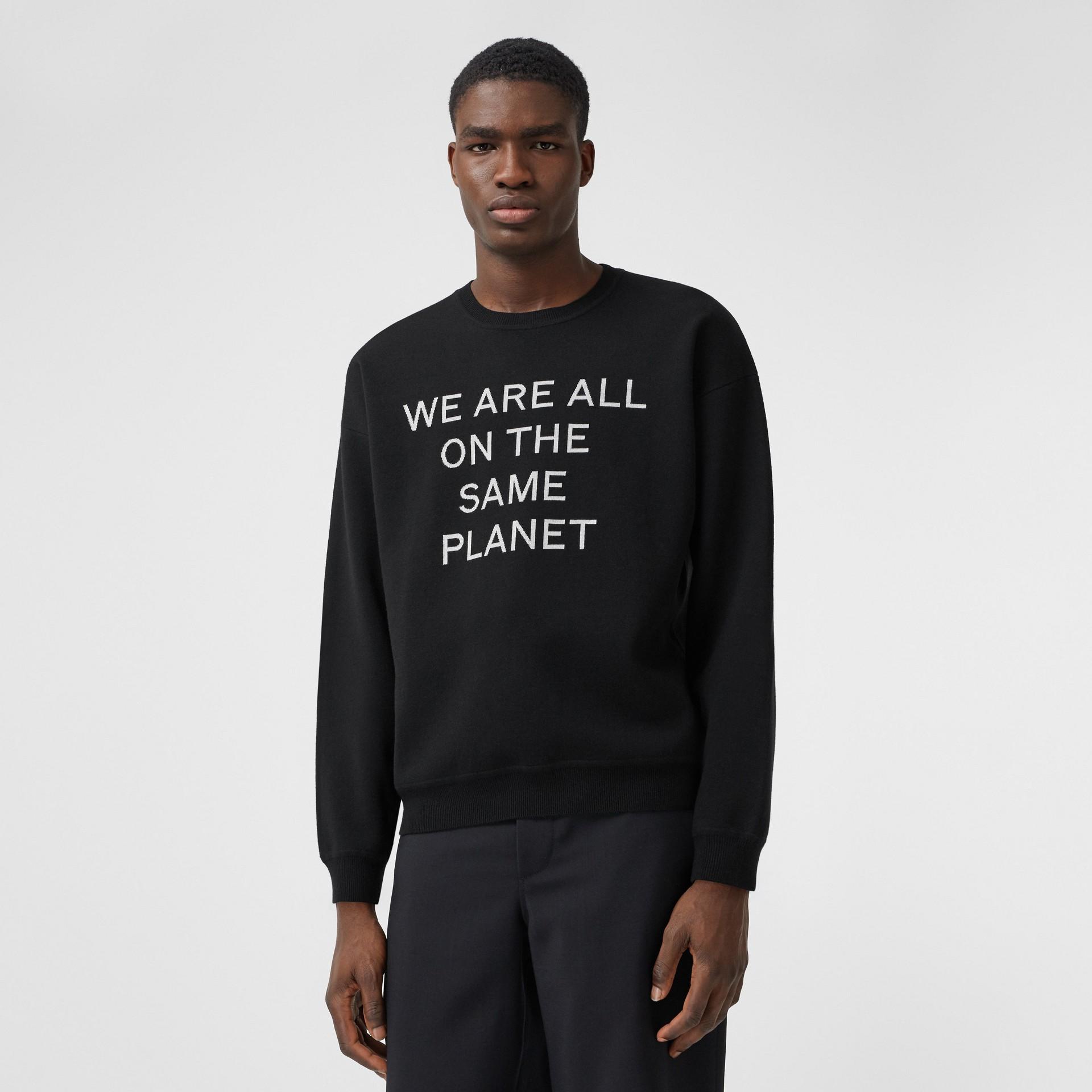 Slogan Intarsia Merino Wool Blend Sweater in Black - Men | Burberry United States - gallery image 0