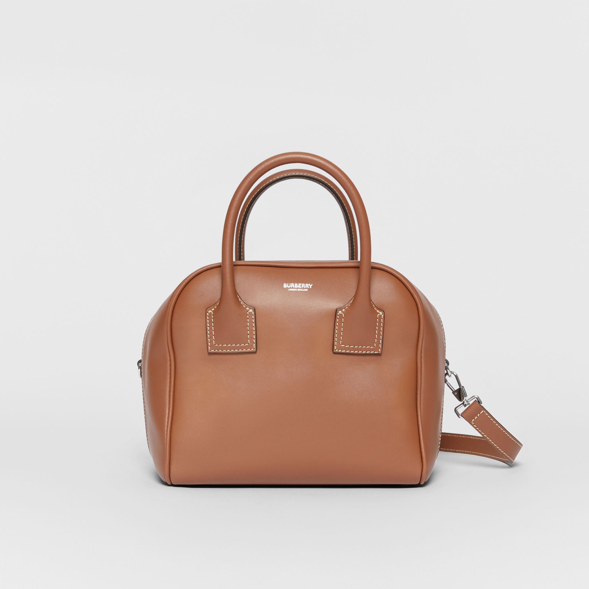 Small Leather Cube Bag in Malt Brown - Women | Burberry - gallery image 0