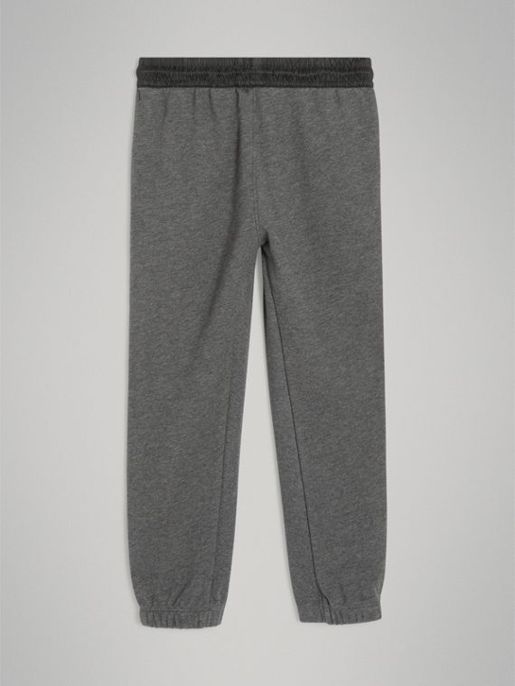 Logo Stripe Cotton Sweatpants in Charcoal Melange - Boy | Burberry - cell image 3