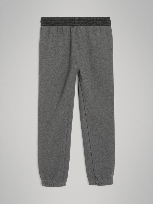 Logo Stripe Cotton Sweatpants in Charcoal Melange | Burberry - cell image 3