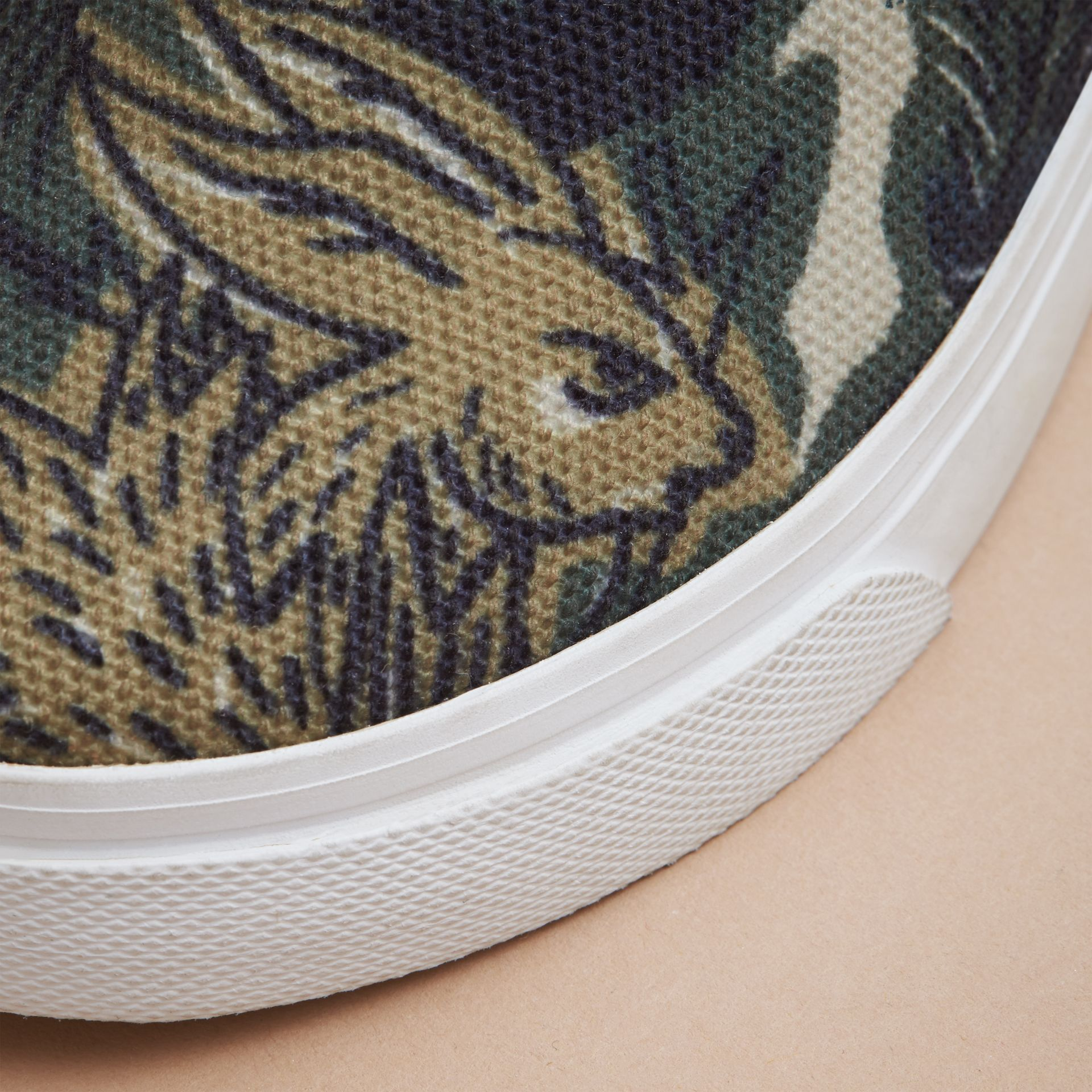 Beasts Print Cotton and Leather Slip-on Trainers in Clay Green | Burberry - gallery image 2