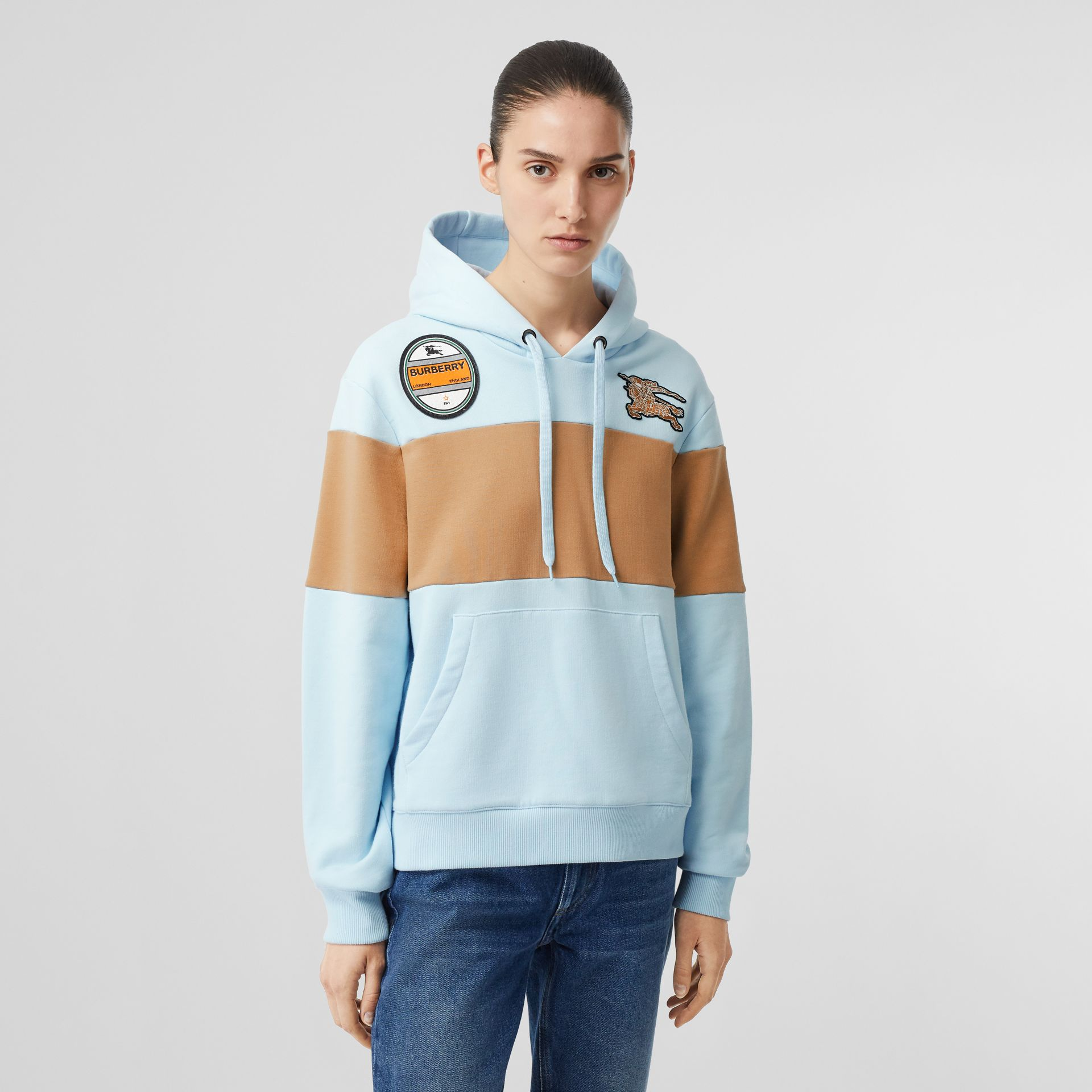 Logo Graphic Panelled Cotton Oversized Hoodie in Pale Blue - Women | Burberry - gallery image 5
