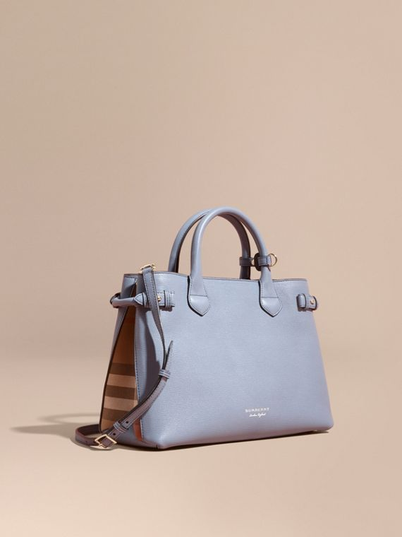 Sac The Banner medium en cuir et coton House check Bleu Ardoise