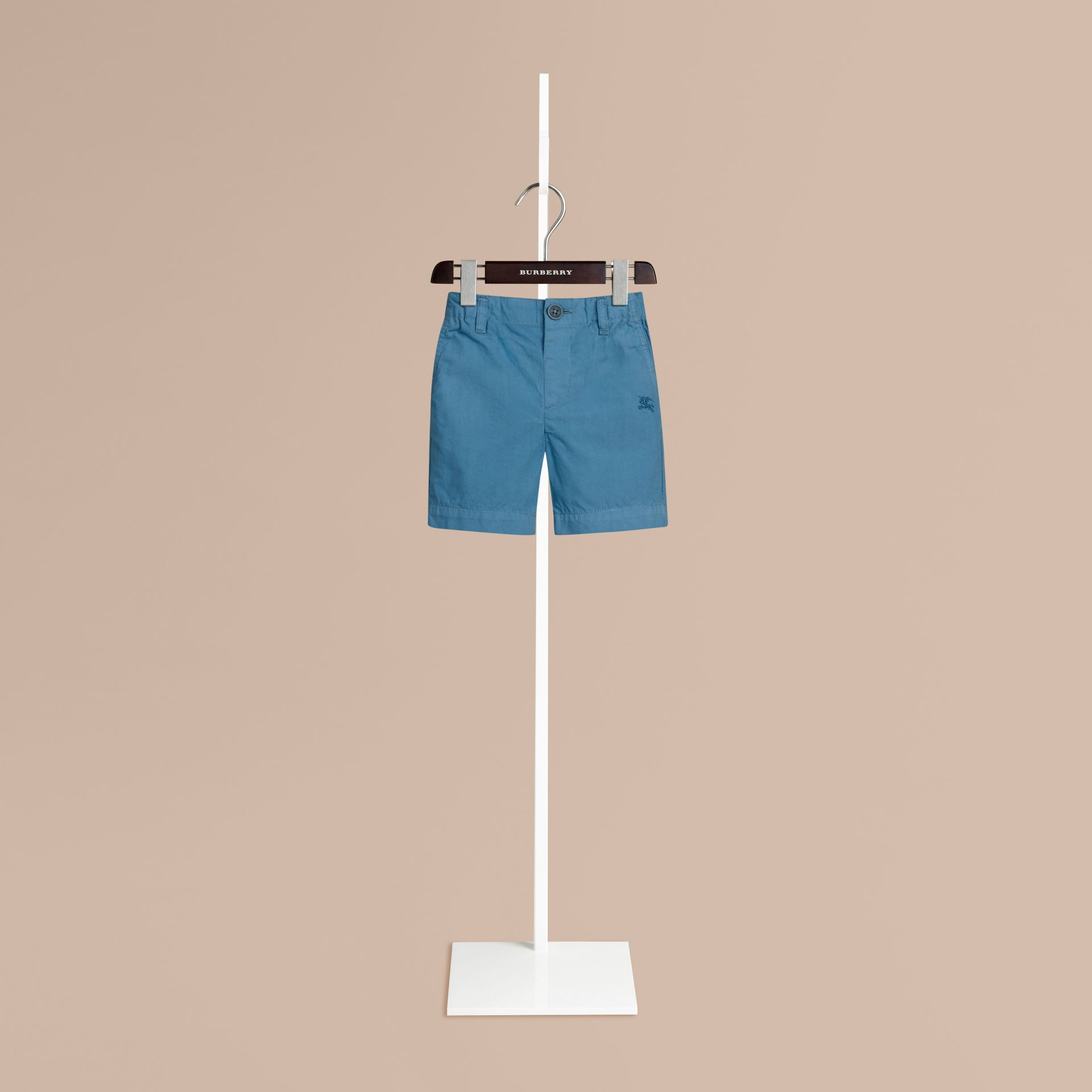Lupin blue Cotton Military Chino Shorts Lupin Blue - gallery image 1